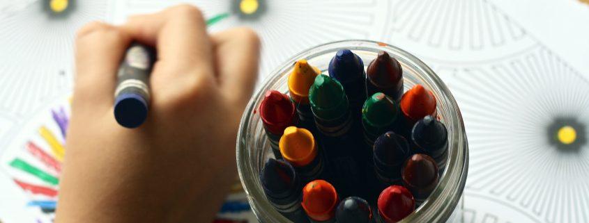coloring with kindergartners