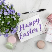 easter card and flowers